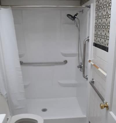 Walk-in shower with grab bars for Indianapolis grandma