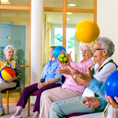 Tossing a ball at home is exercise for seniors