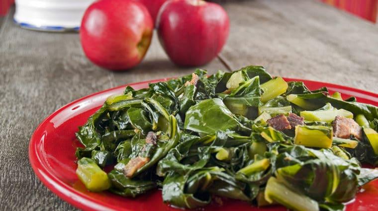 Collard greens and apples