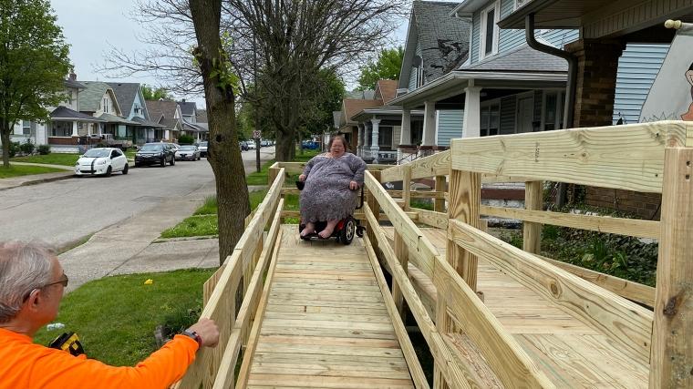 Debra enjoys freedom with her new wheelchair ramp