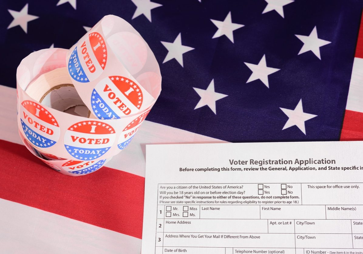 Voter registration application for the 2020 presidential elections, on an American flag background.